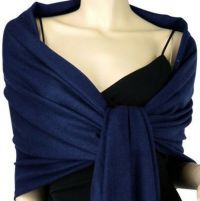 Navy Blue Pashmina Silk Scarf Soft Shawl Wrap Solid Color ...