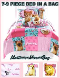 PUPPY DOG KITTY CAT Feline Kitten Girls Pink Comforter Bed