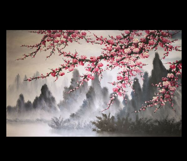 Japanese Cherry Blossom Painting On Canvas