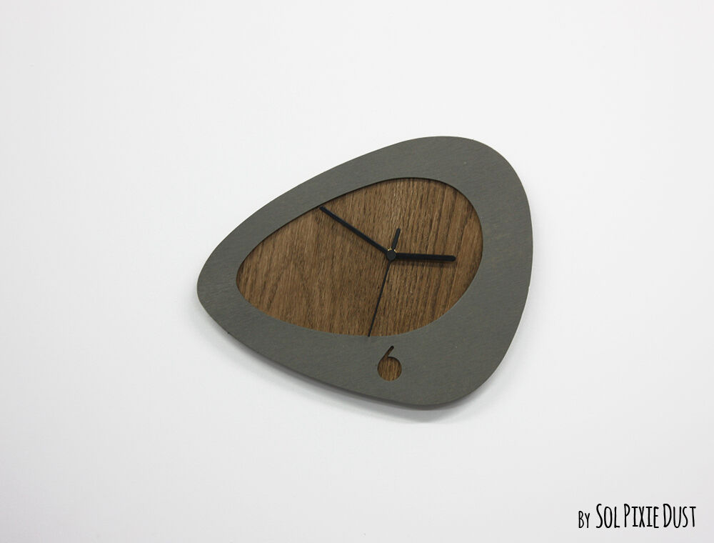 Organic Shape Concrete With Wood Wall Clock