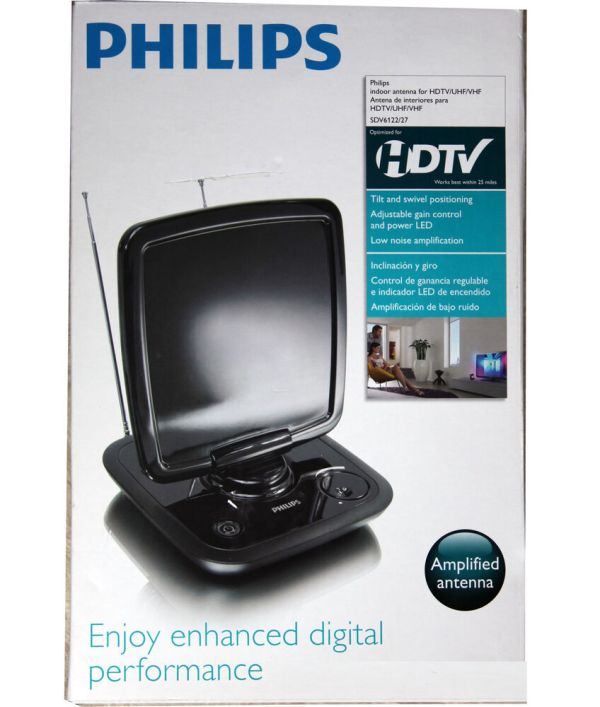 Philips Sdv6122 27 Amplified Powered Indoor Digital Uhf
