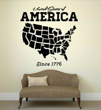 Wall Decal United States USA Map State Coolest Room Art ...