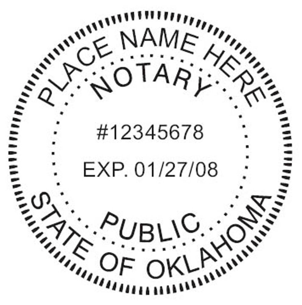 OKLAHOMA CUSTOM Round Self-Inking NOTARY SEAL RUBBER STAMP