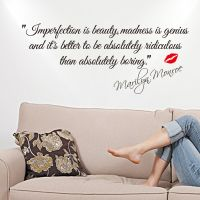 MARILYN MONROE - IMPERFECTION IS BEAUTY WALL STICKER QUOTE ...