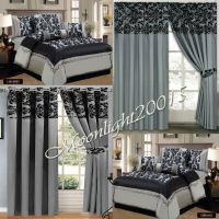 New 7 Piece (PCS) Gray Flock Quilted Comforter Set ...