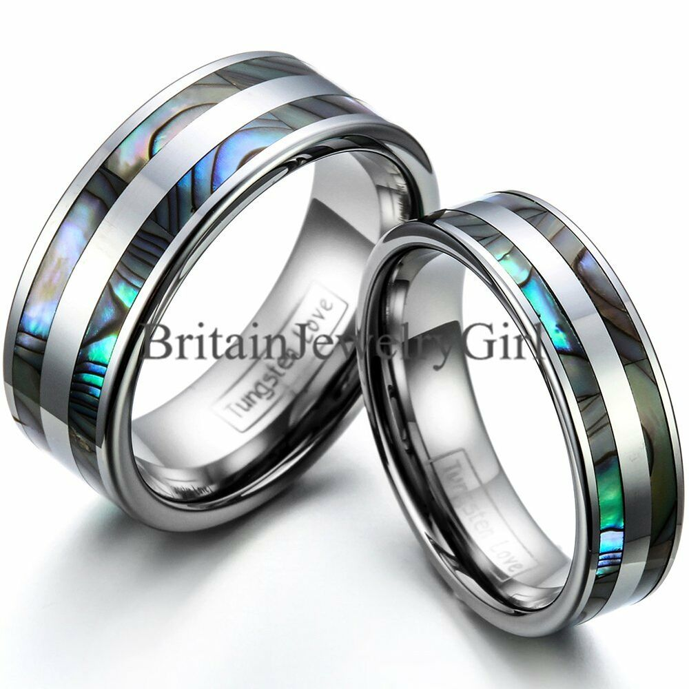 Tungsten Carbide Synthetic Abalone Shell Ring Men Women
