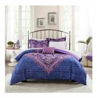 Queen Size Bold Blue Purple Paisley Design 8pc Comforter