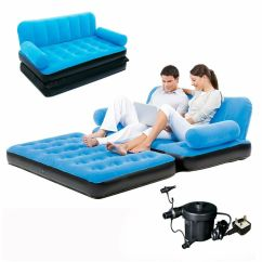 Sofa Lounger With Pull Out Bed Cream Fabric Corner Inflatable Double Air Couch Blow Up Mattress ...