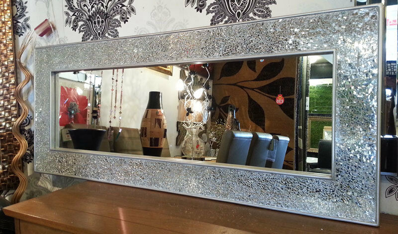 Crackle Mosaic Glass Silver Frame Wall Mirror Full
