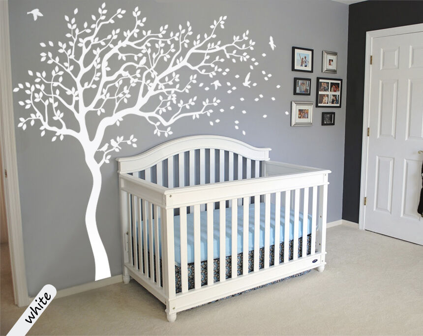 White tree wall decals Large tree Nursery decoration