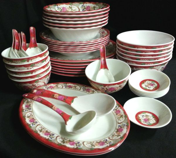 46 Piece Melamine Plastic Red Dinner Set Serving Bowl