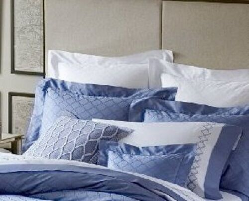 NEW SFERRA BRUNI 3345 JACQUARD CORNFLOWER BLUE PILLOW SHAM