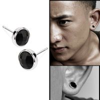 1Pair Fashion Mens Round Black Agate Silver Ear Studs