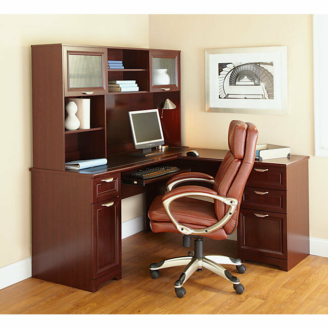NEW LShaped Office DESK  HUTCH Computer Executive