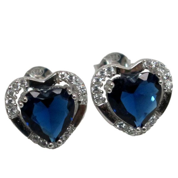 Stylish Heart 4 Ct Sapphire 925 Sterling Silver Stud Earrings