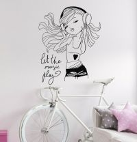 Teen Girl Music Headphones Room Decoration Wall Stickers ...
