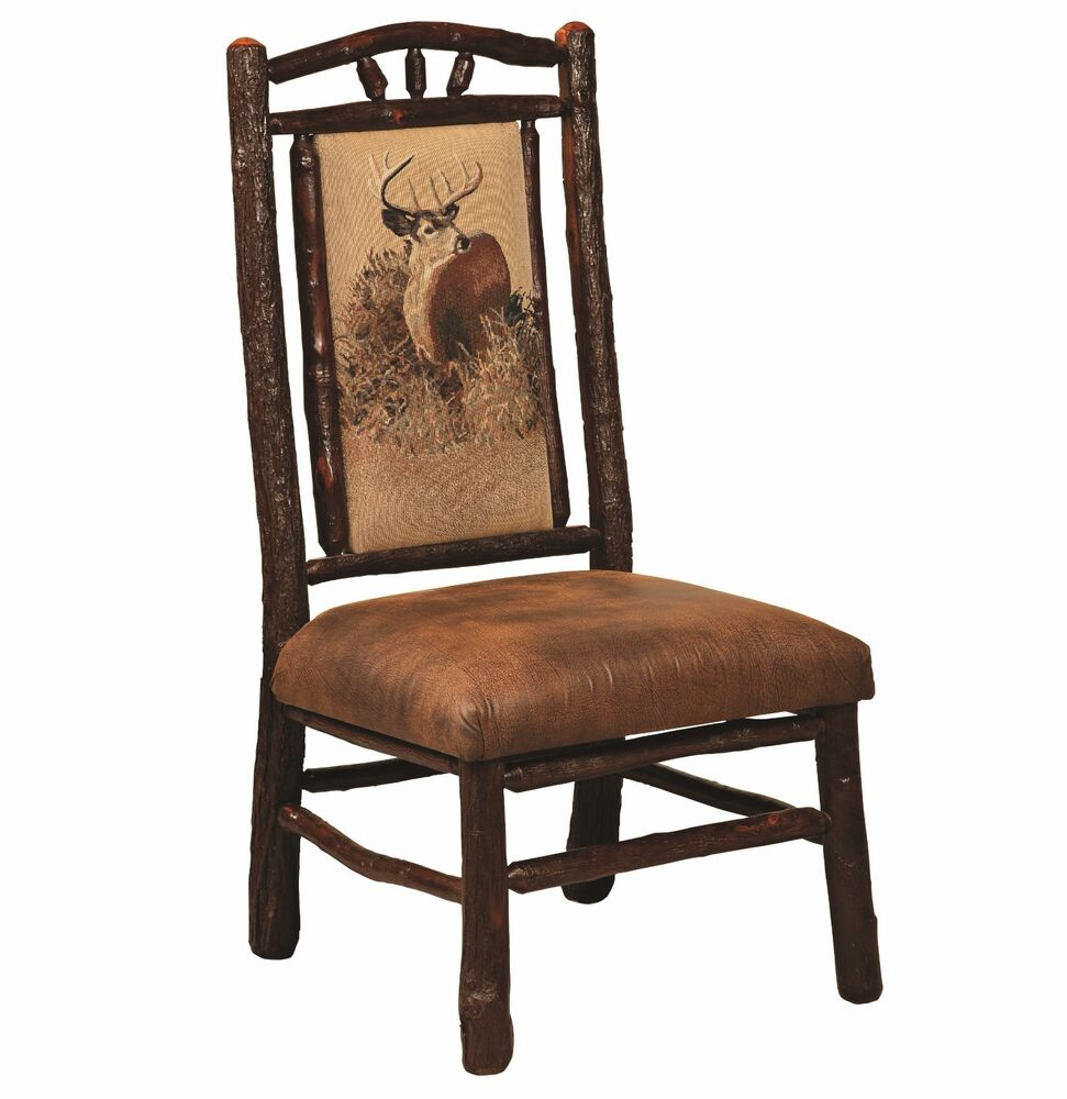 Set (4) Amish Hickory Log Bark Dining Side Chairs