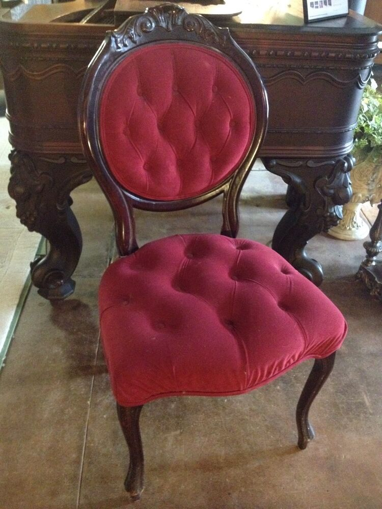 antique folding rocking chair wood back pain office cushion victorian style red velvet tufted-back parlor chair, carved cherry accents | ebay