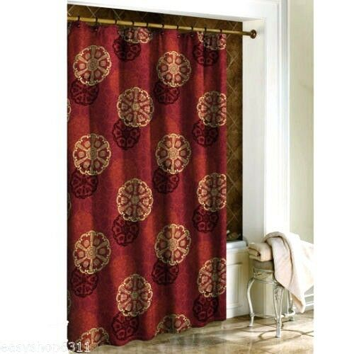 NEW Cameo Oriental Asian Red Gold Shanghai Fabric Shower Curtain  eBay