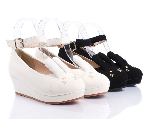 Girls Faux Leather Ankle Strap Buckle Cute Bunny Ears