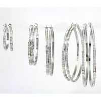 White Gold Plated Large, Medium, Small Hoop Earrings with