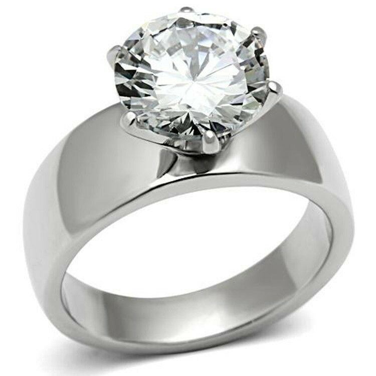 Stainless Steel Round Solitaire Engagement Ring Wide Band 10mm Cubic Zirconia  eBay