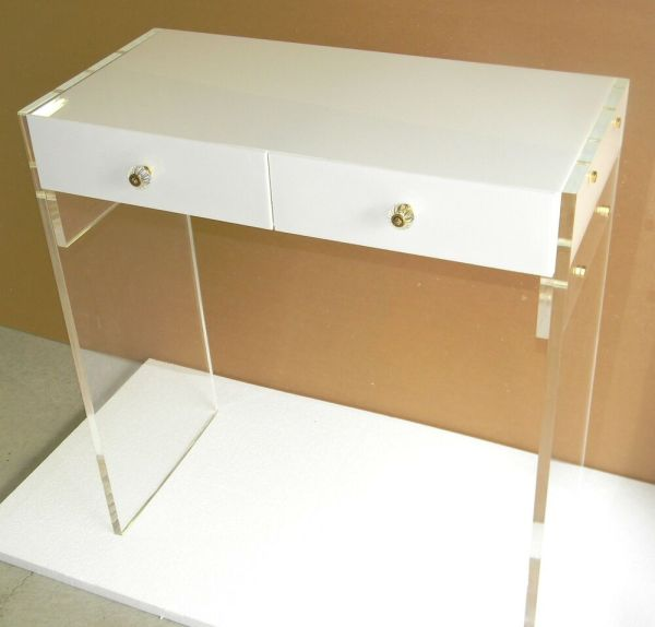 Custom Acrylic 2-drawer Vanity In White Withclear Legs - 36