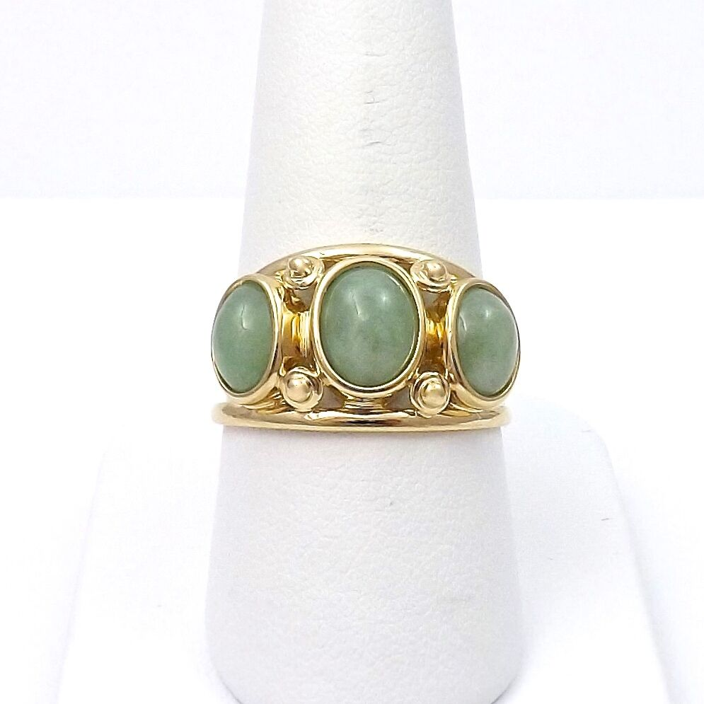 14k Gold 3 Stone Green Jade Wide Band Ring Sz 10  eBay