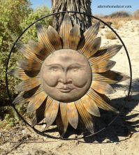 Metal Sun Wall Decor Flower Rustic Garden Art Indoor ...