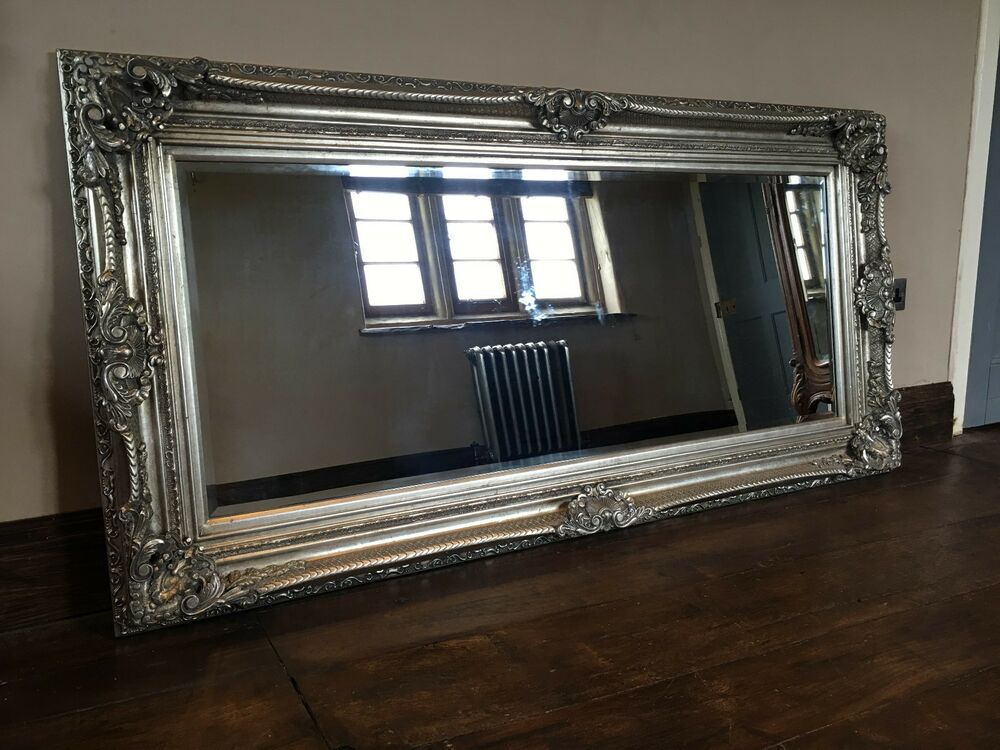 ANTIQUE SILVER ORNATE LARGE FRENCH BOUDOIR WOOD OVERMANTLE