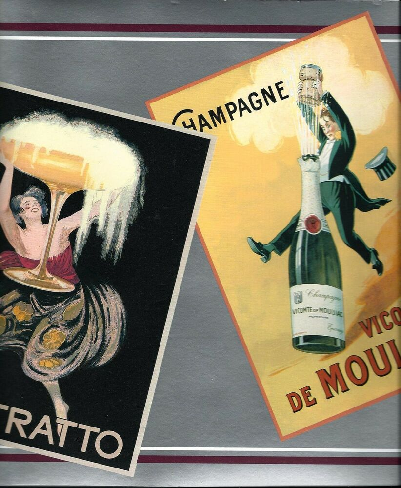 vintage posters for kitchen metal canisters french wine labels wallpaper border | ebay