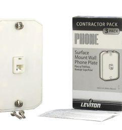 details about lot 3 leviton white 4 wire surface mount wall phone jack plate rj11 c0253 w [ 1000 x 806 Pixel ]