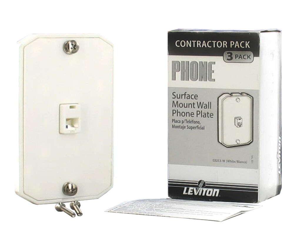 medium resolution of details about lot 3 leviton white 4 wire surface mount wall phone jack plate rj11 c0253 w