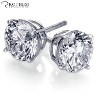1 CT G I1 14K White Gold Round Cut Diamond Stud Earrings