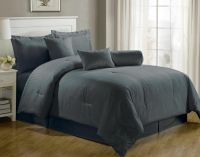 Luxurious 7-Piece Comforter Set King Size Bedding Gray ...