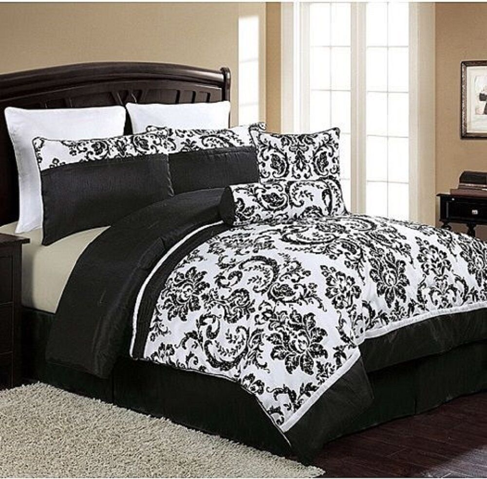 New Luxury 8Piece Comforter Set Queen Size Bed Bedding Bedroom Black White  eBay