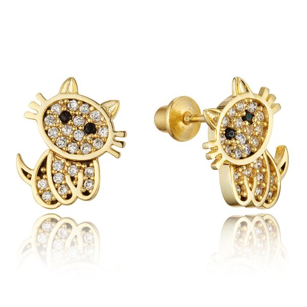 14k Gold Plated Brass Children Baby Cat Screw Girls Earrings Silver Post