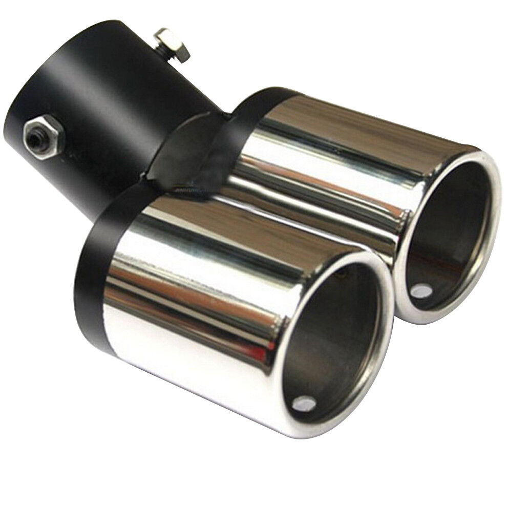 Car SUV Twin Muffler Pipe Chrome Tail Throat Dual Exhaust