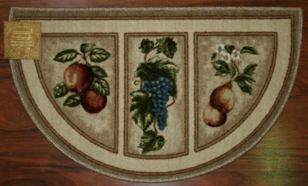 19X32 Slice Wedge Kitchen Rug Mat Beige Tan Washable Mats Rugs Fruit Grapes Pear  eBay