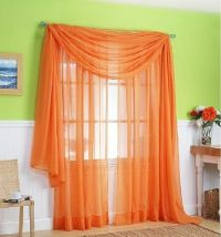3 Piece Sheer Panel Set Window treatment covering ORANGE ...