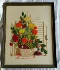 Vintage Floral Crewel Embroidery Needlepoint Completed ...