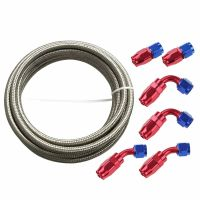 6AN 12Ft SL Stainless Steel Braided Fuel Line + 6Pc RDBU ...