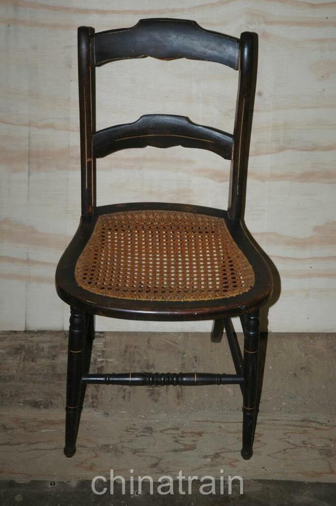 Antique Cane Seat Ladder Slat Back Chair Paint Accents