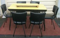 Mid Century Modern Laminate & Black Chrome Dining Table 6 ...