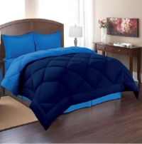 Queen Size Reversible Comforter Set 3 Piece Bed in a Bag