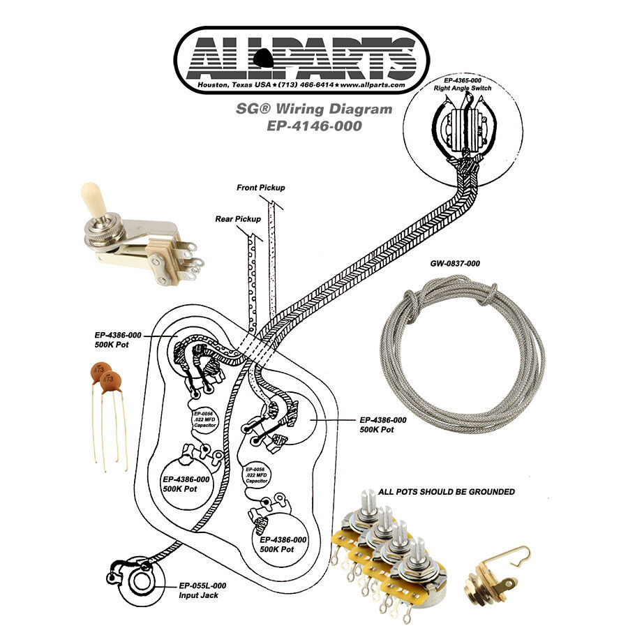 Telecaster Wiring Schematic Wiring Kit For Gibson Sg Guitar Complete Diagram Pots