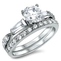 .925 Sterling Silver Wedding Ring set size 9 Engagement CZ