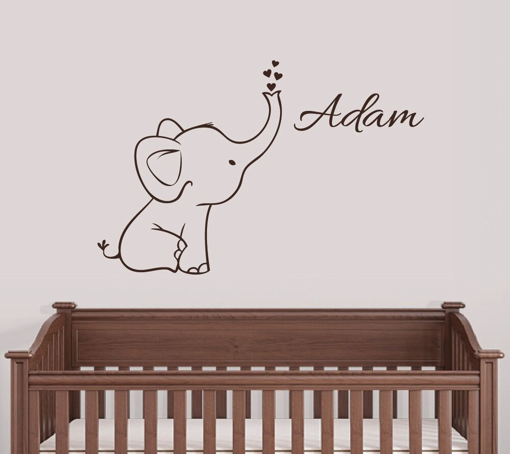 Personalized Elephant Wall Decal Nursery Decor
