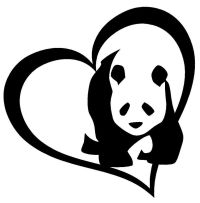 PANDA BEAR HEART Vinyl Decal Sticker Car Window Wall ...