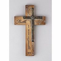 NEW Resin Religious Wall Cross Decor Faith All Things FREE